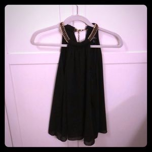 Black tank with chain neck detail